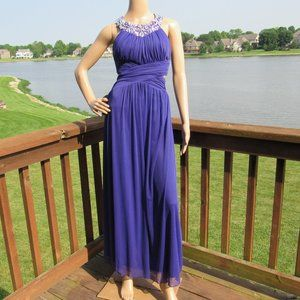 B. Darlin Embeliished Pleated Halter Long Dress